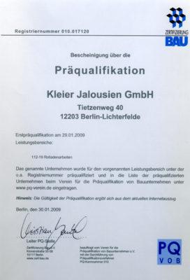 Präqualifikation Kleier Jalousien
